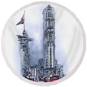 Round Beach Towel featuring the painting 1908 Times Square,ny by Andrzej Szczerski