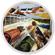1909 Indy 500 Poster Round Beach Towel