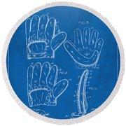 1910 Baseball Glove Patent Artwork Blueprint Round Beach Towel