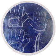 1910 Baseball Glove Patent Blue Round Beach Towel