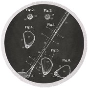 1910 Golf Club Patent Artwork - Gray Round Beach Towel by Nikki Marie Smith