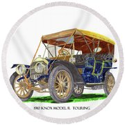 Round Beach Towel featuring the painting 1910 Knox Model R 5 Passenger  Touring Automobile by Jack Pumphrey