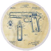 1911 Colt 45 Browning Firearm Patent Artwork Vintage Round Beach Towel by Nikki Marie Smith