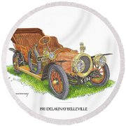 Round Beach Towel featuring the painting 1911 Delaunay Belleville Open Tourer by Jack Pumphrey