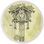 1912 Cuckoo Clock Patent Round Beach Towel by Dan Sproul