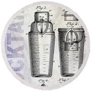 1913 Cocktail Shaker Patent Round Beach Towel