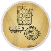 Round Beach Towel featuring the mixed media 1916 Pool Table Pocket Patent by Dan Sproul