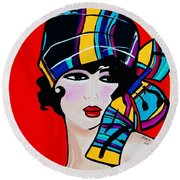 1920's Girl Anna Round Beach Towel by Nora Shepley