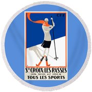 1922 Sainte-croix Switzerland Ski Travel Poster Round Beach Towel