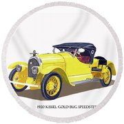 Round Beach Towel featuring the painting 1923 Kissel Kar  Gold Bug Speedster by Jack Pumphrey