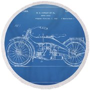 Round Beach Towel featuring the digital art 1924 Harley Motorcycle Patent Artwork Blueprint by Nikki Marie Smith