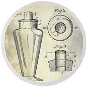 1925 Cocktail Shaker Patent  Round Beach Towel