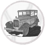 1925 Jewett 2 Door Touring Sedan Round Beach Towel by Jack Pumphrey