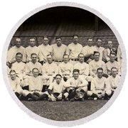 1926 Yankees Team Photo Round Beach Towel by Jon Neidert