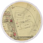 Round Beach Towel featuring the photograph 1927 Baker Field Map  by Cole Thompson