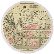Round Beach Towel featuring the photograph 1927 Inwood Map  by Cole Thompson