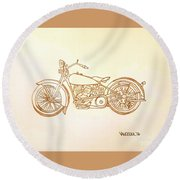 1928 Harley Davidson Motorcycle Graphite Pencil - Sepia Round Beach Towel