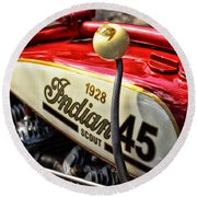 1928 Indian Scout Gas Tank Round Beach Towel by Mike Martin