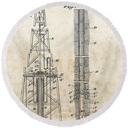 1928 Oil Well Patent Round Beach Towel