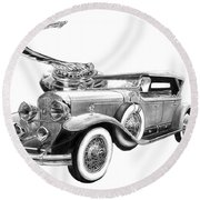 1929 Cadillac  Round Beach Towel
