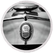 1929 Graham-paige Sport Roadster Emblem -0810bw Round Beach Towel