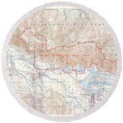 1929 Usgs Map Of Grand Teton National Park Wyoming  Round Beach Towel