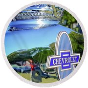 1930 Chevrolet Ad Hood Ornament Round Beach Towel