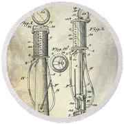 1930 Gas Pump Patent Round Beach Towel