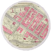 1930 Inwood Map  Round Beach Towel