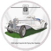 1930 Isotta Fraschini 8a Flying Star Roadster Round Beach Towel by Jack Pumphrey