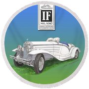 1930 Isotta Fraschini Tippo 8 A Flying Star Roadster Round Beach Towel by Jack Pumphrey