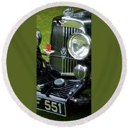 Round Beach Towel featuring the photograph 1930s Aston Martin Front Grille Detail by John Colley