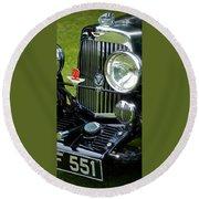 1930s Aston Martin Front Grille Detail Round Beach Towel