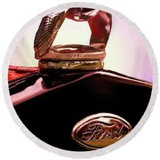 Round Beach Towel featuring the photograph 1931 Ford Truck Quail by Trey Foerster