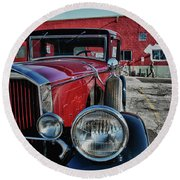 Round Beach Towel featuring the photograph 1931 Pierce Arow 3473 by Guy Whiteley