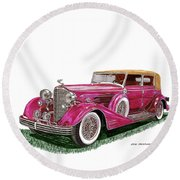Round Beach Towel featuring the painting 1932 Cadillac All Weather Phaeton V 16 by Jack Pumphrey