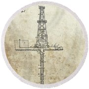 1932 Oil Well Patent Round Beach Towel