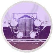 1932 Packard Pop Art Violet Gradient Round Beach Towel