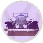 1932 Packard Pop Art Violet Gradient Round Beach Towel