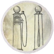 1933 Gas Pump Patent Round Beach Towel