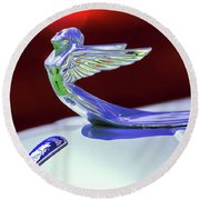 Round Beach Towel featuring the photograph 1933 Plymouth Hood Ornament -0121rc by Jill Reger