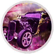 1934 Ford Coupe Hot Rod Acrylic Illustration Round Beach Towel