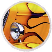 Round Beach Towel featuring the photograph 1934 Ford Custom Yellow Hot Rod by Baggieoldboy
