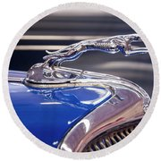Round Beach Towel featuring the digital art 1934  Ford Greyhound Hood Ornament by Chris Flees