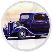 1935 Chevrolet Coupe Round Beach Towel