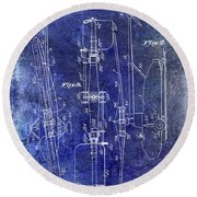1935 Helicopter Patent Blue Round Beach Towel