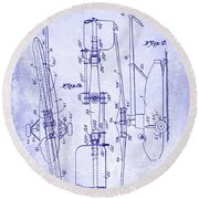 1935 Helicopter Patent Blueprint Round Beach Towel
