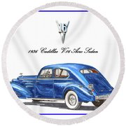 Round Beach Towel featuring the painting 1936 Cadillac V-16 Aero Coupe by Jack Pumphrey