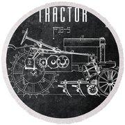 1936 Chalkboard Tractor Patent Round Beach Towel