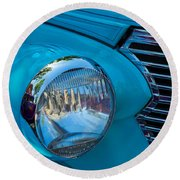 1936 Chevy Coupe Headlight And Grill Round Beach Towel